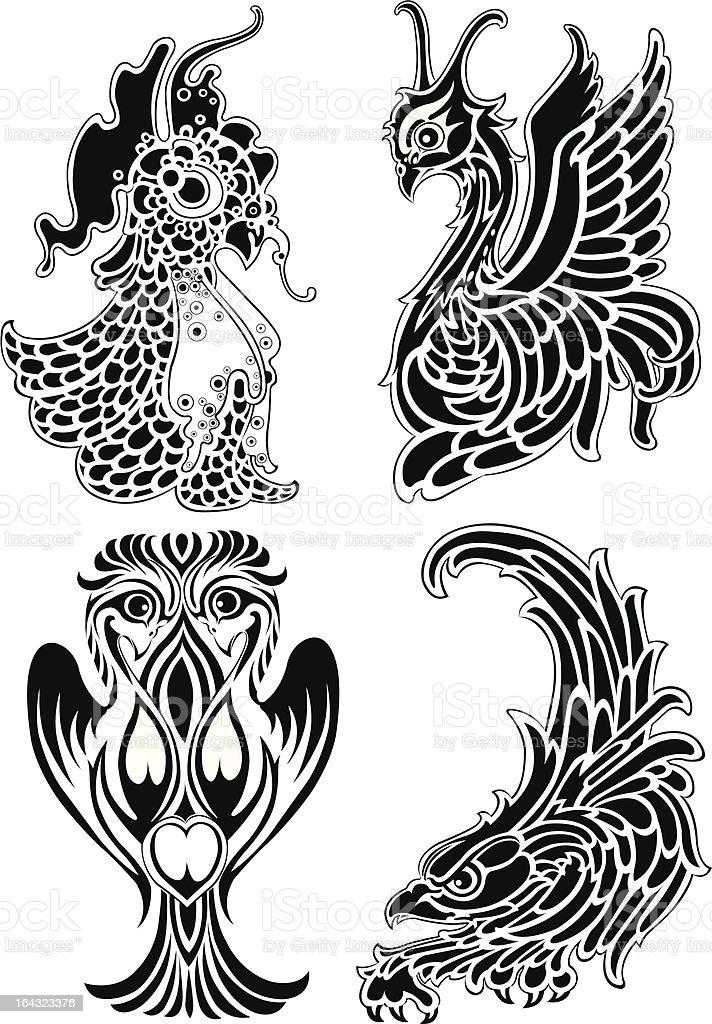 Tribal tattoo with soft swirls royalty-free stock vector art