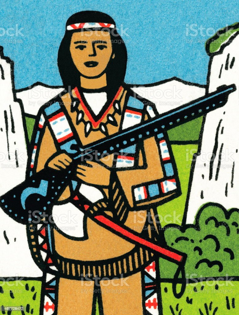 Tribal woman with rifle vector art illustration