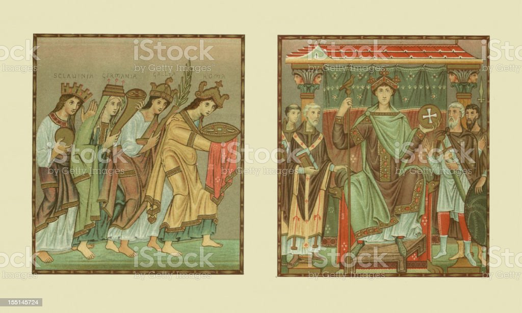 Tribute to Holy Roman emperor Otto III, lithgraph, published 1880 vector art illustration