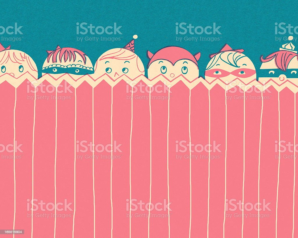 Trick or Treaters Peeking Over a Fence royalty-free stock vector art