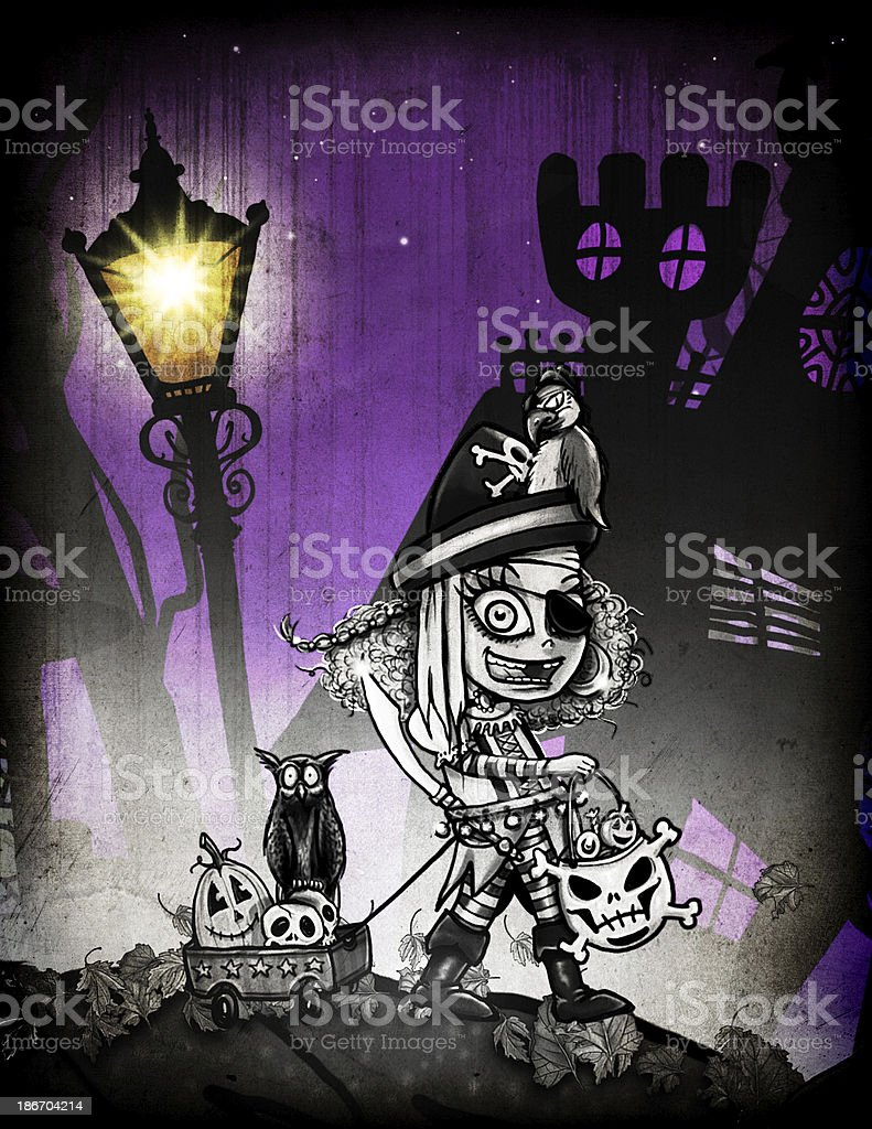 Trick-or-treating Pirate Girl Illustration stock photo