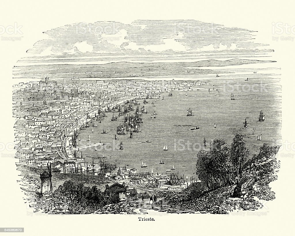 Trieste, Italy. 19th Century vector art illustration