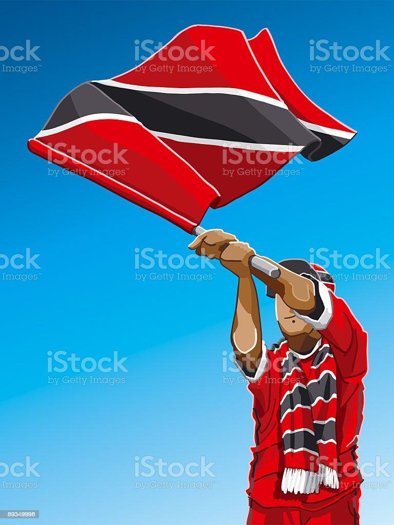 Trinidad And Tobago Waving Flag Soccer Fan royalty-free stock vector art