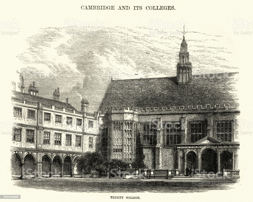 Trinity College, Cambridge, 19th Century vector art illustration