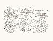 Triple Expansion Engine Parts Technical Illustration