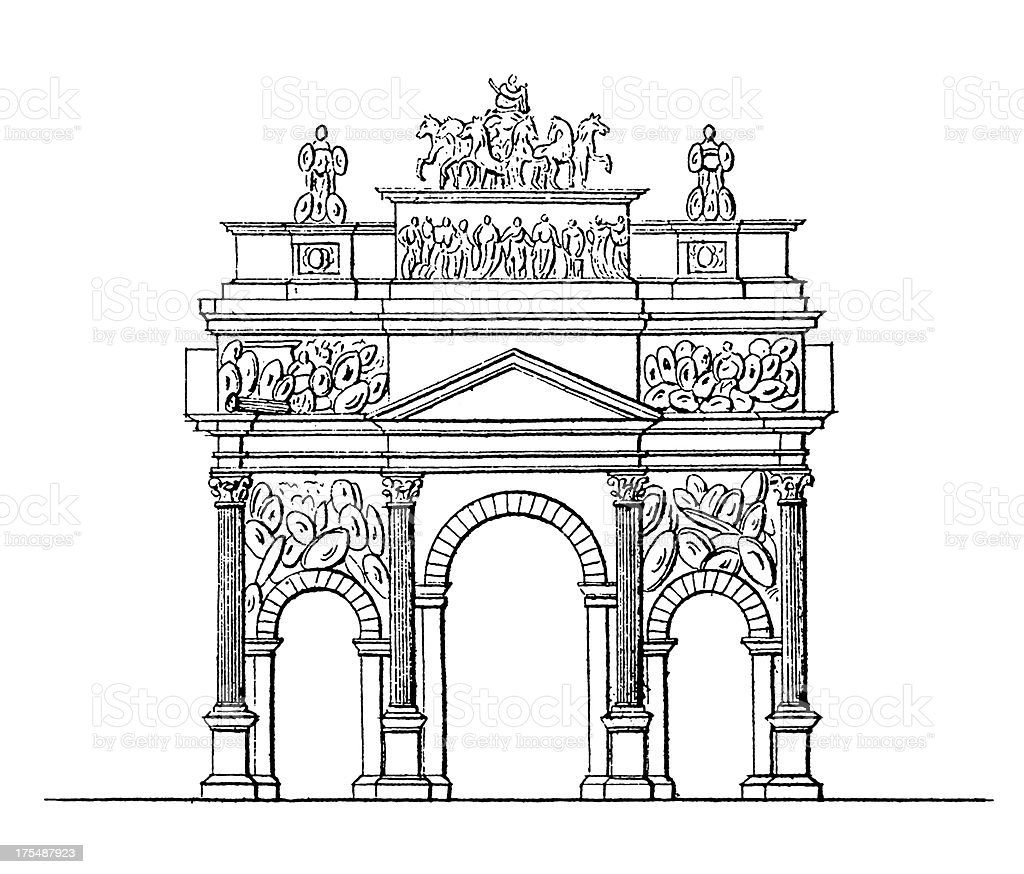 Triumphal Arch of Orange, France | Antique Architectural Illustrations royalty-free stock vector art