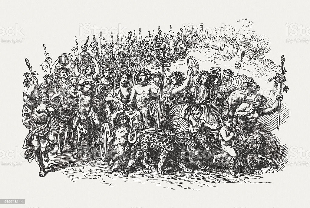 Triumphal procession of Bacchus, Greek mythology, wood engraving, published 1880 vector art illustration