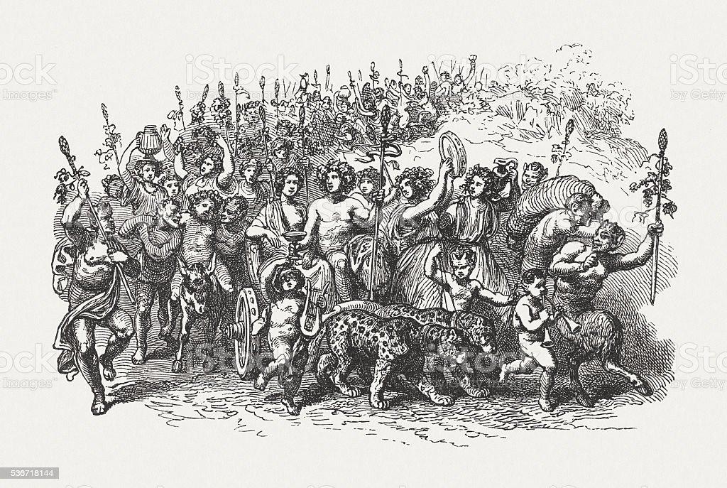 Triumphal procession of Bacchus, Greek mythology, wood engraving, published 1880 vector art illustration