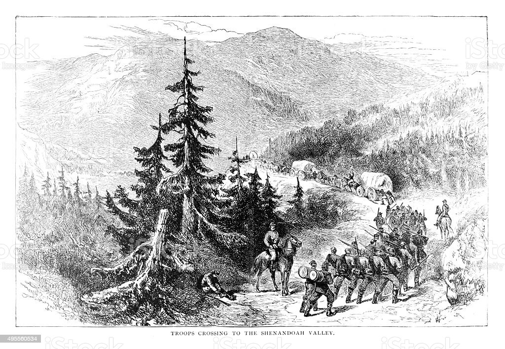 Troops crossing to the Shenandoah Valley stock photo