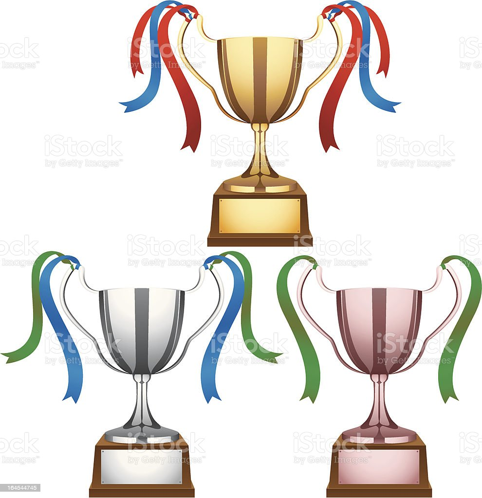 Trophy - Gold, Silver, Bronze royalty-free stock vector art