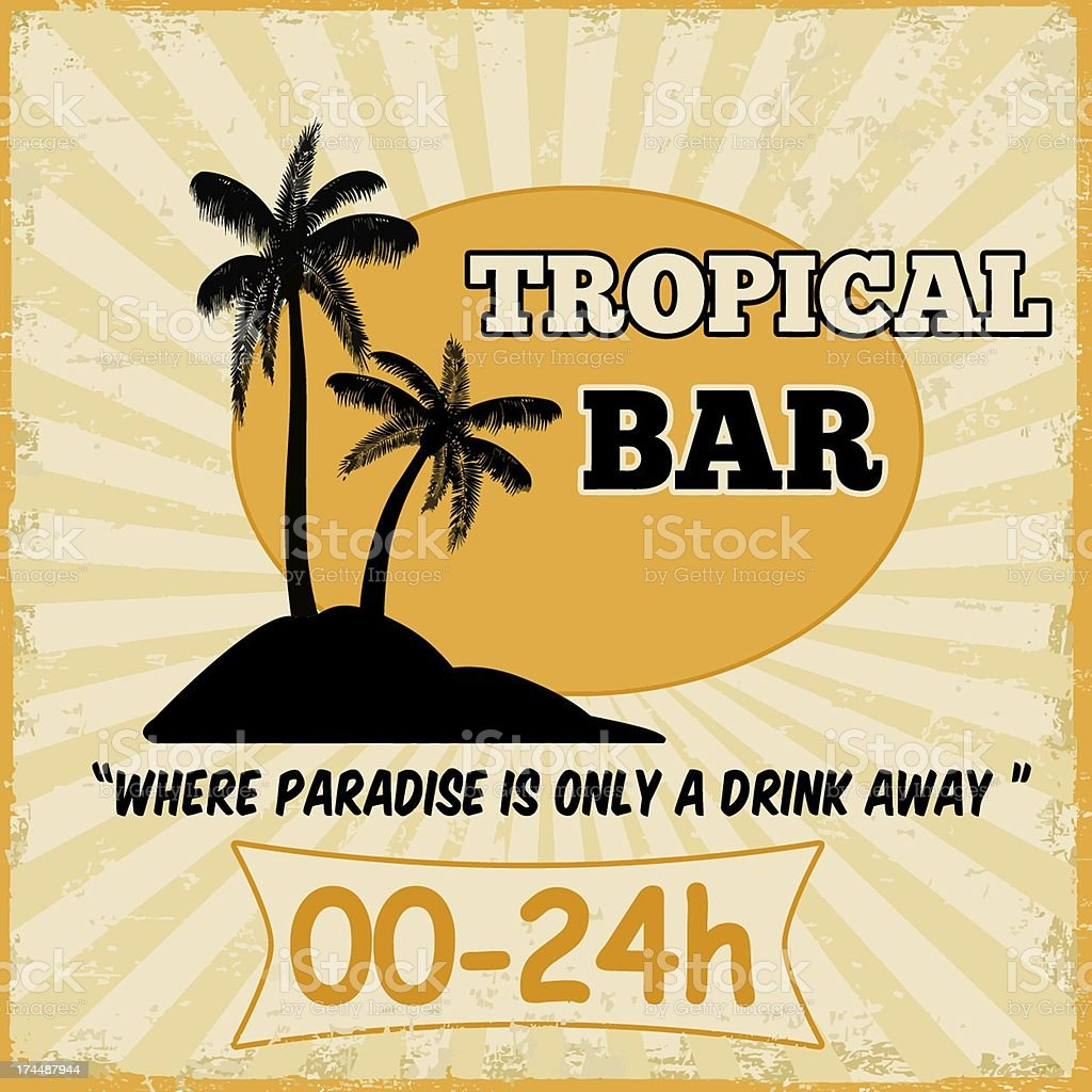 Tropical bar vintage poster royalty-free stock vector art