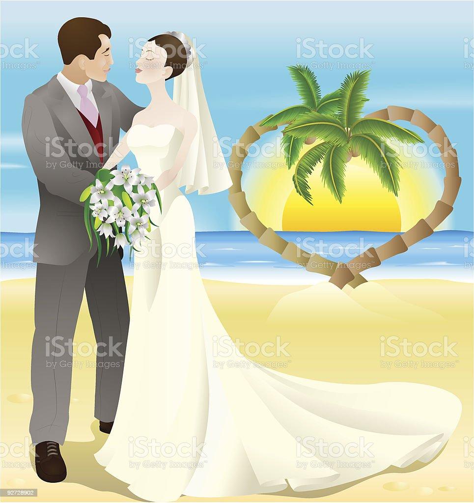 tropical destination beach wedding royalty-free stock vector art