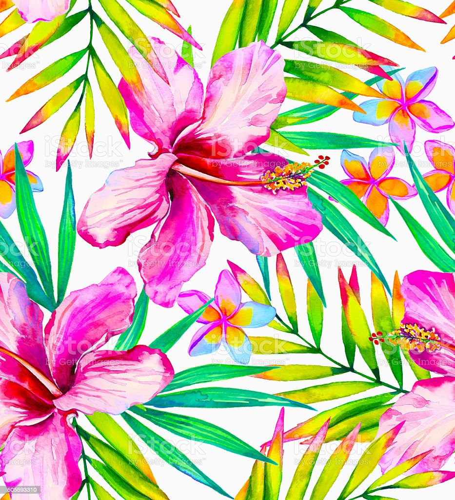Tropical fashion seamless print with exotic flowers and leaves. vector art illustration