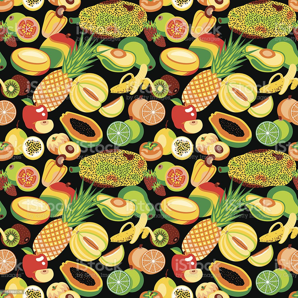Tropical Fruits Seamless Pattern royalty-free stock vector art
