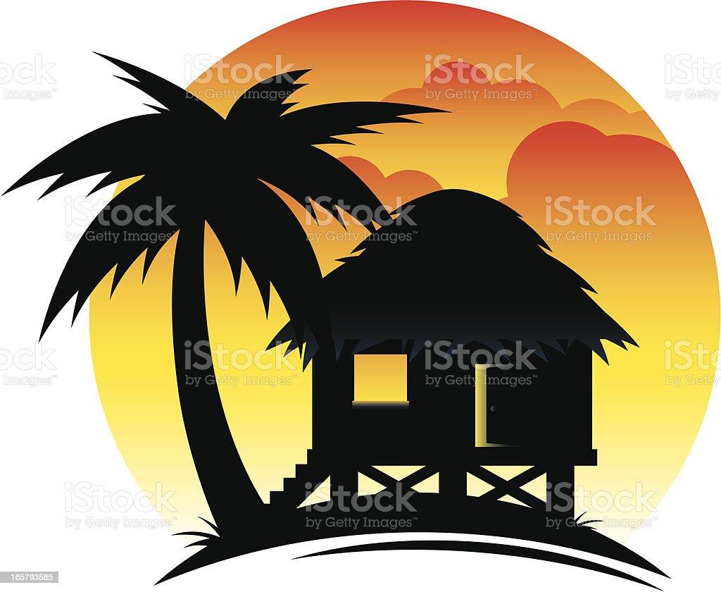 Tropical Hut at Sunset vector art illustration