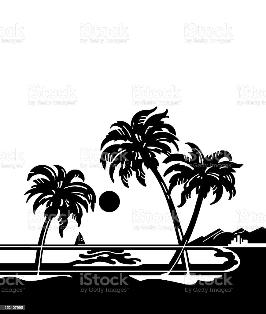 Tropical Landscape With Palm Trees royalty-free stock vector art