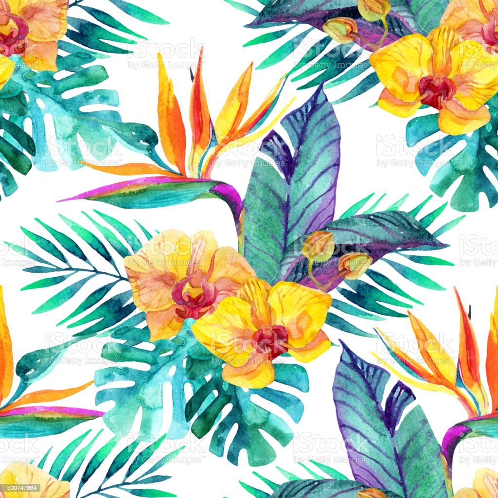 Tropical leaves and flowers. Floral design background. vector art illustration