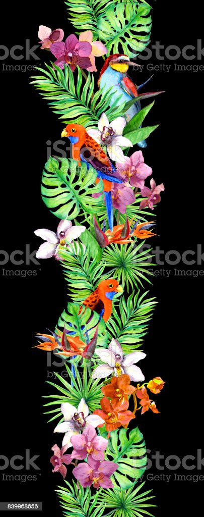 Tropical leaves, orchid flowers and exotic birds. Repeating exotic...