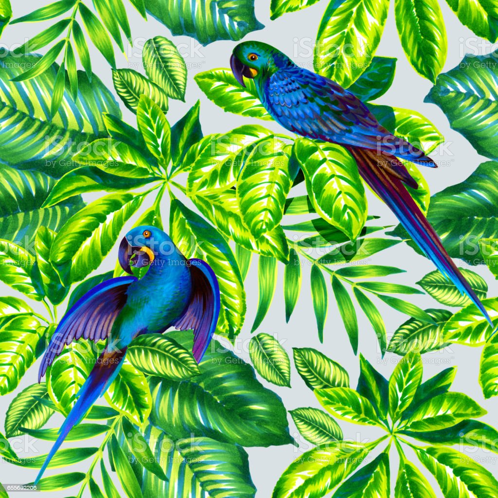 tropical pattern with blue parrots. seamless design vector art illustration