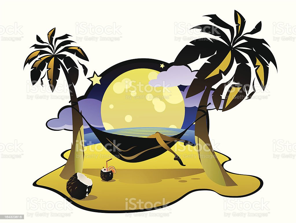 Tropical Sign With Palms Hammock And Coconut Cocktail stock vector ...