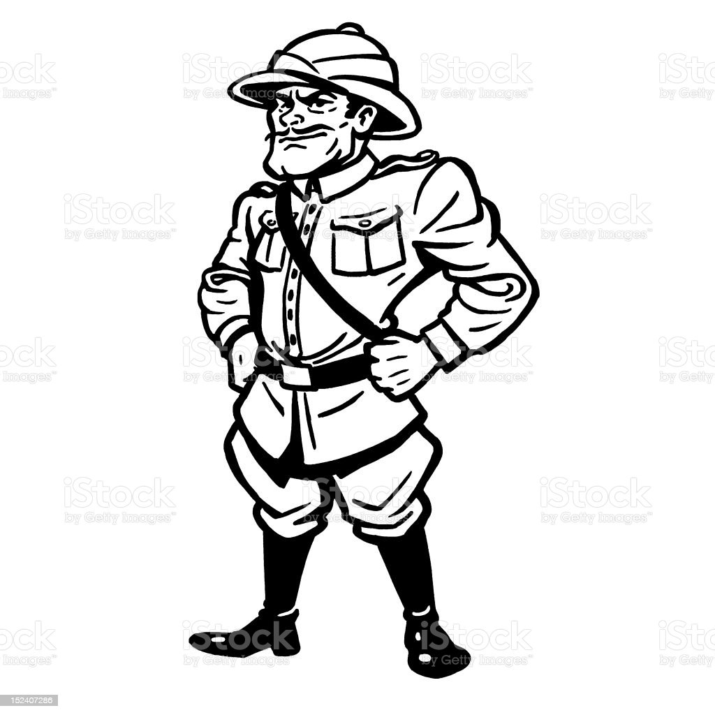 Tropical Soldier Wearing Pith Helmet vector art illustration