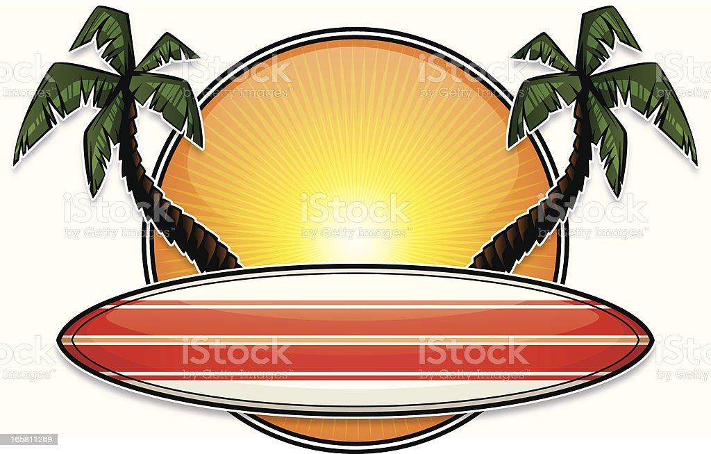 tropical surfboard design vector art illustration