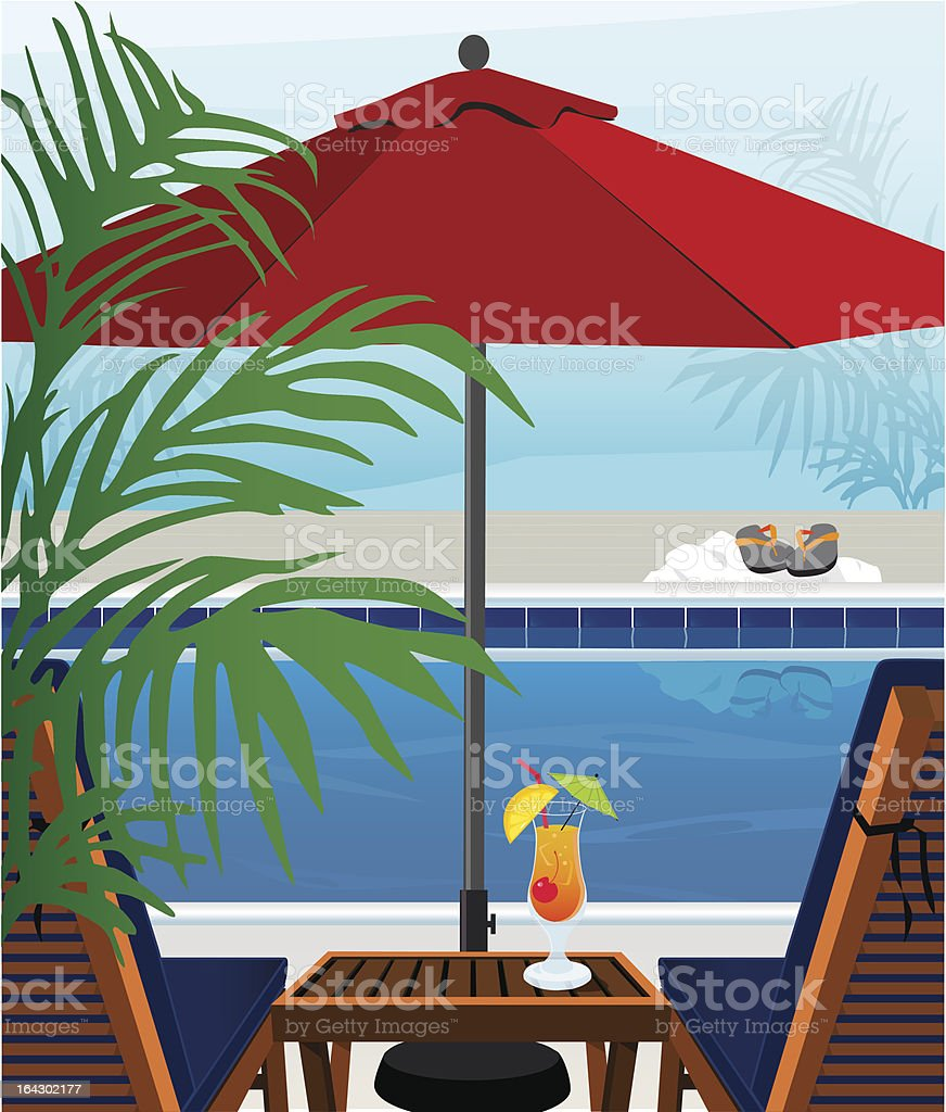 Tropical Swimming Pool vector art illustration