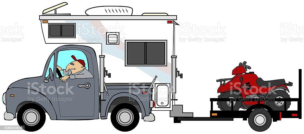 Truck & camper pulling ATV's vector art illustration