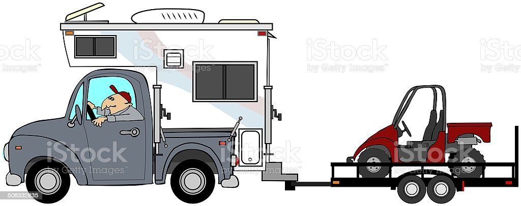 Truck & camper towing a UTV vector art illustration