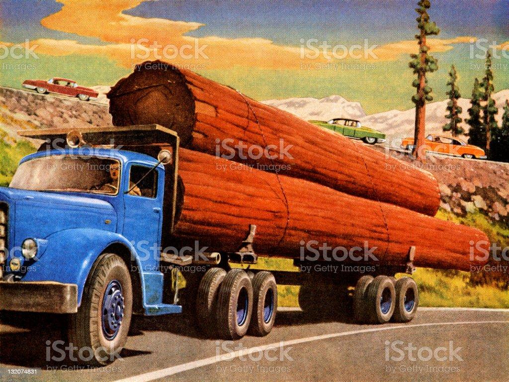 Truck Hauling Logs vector art illustration