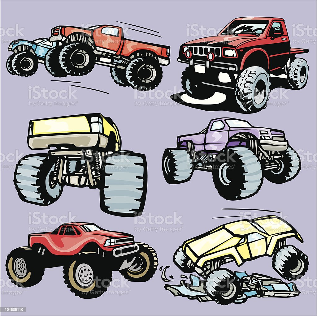 Truck Illustrations I: Monster Trucks (Vector) royalty-free stock vector art