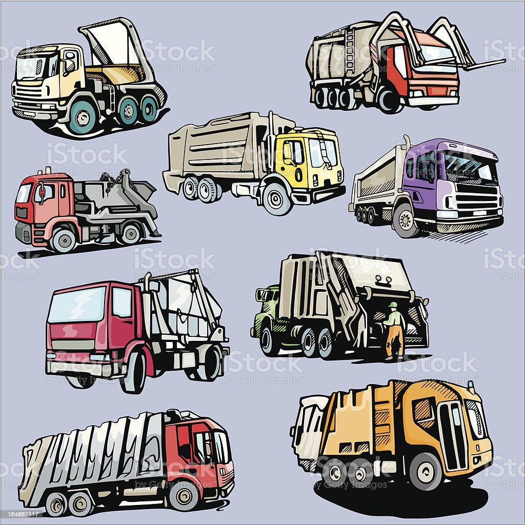Truck Illustrations III: Dump Trucks (Vector) royalty-free stock vector art