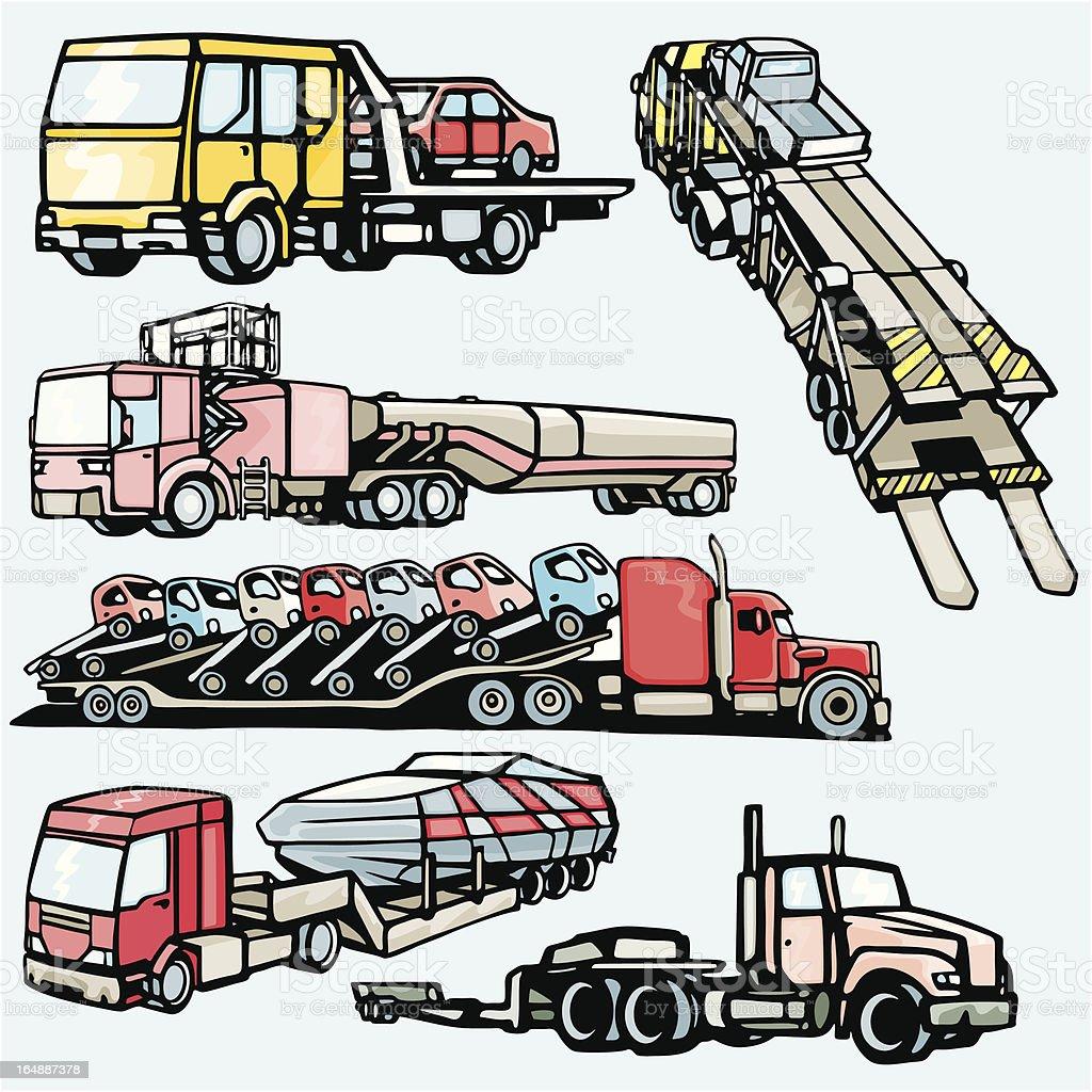 Truck Illustrations IX: Transporter Trucks (Vector) royalty-free stock vector art