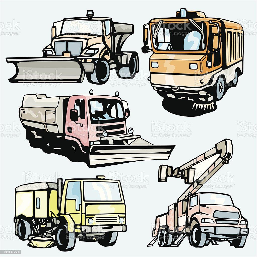 Truck Illustrations XIV: Utility Trucks (Vector) royalty-free stock vector art