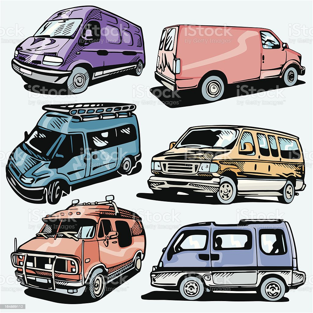 Truck Illustrations XVII: Vans and Jeeps (Vector) royalty-free stock vector art