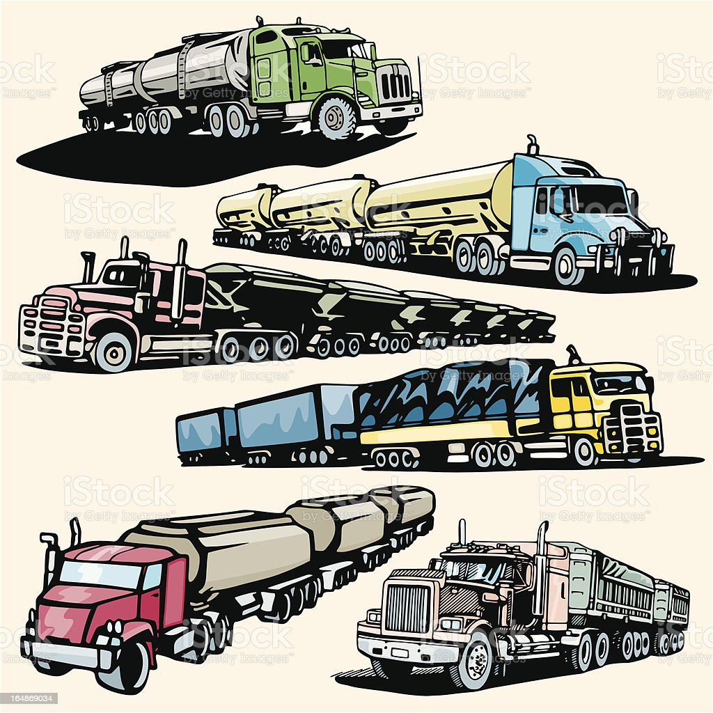 Truck Illustrations XXIV: Road Trains (Vector) royalty-free stock vector art