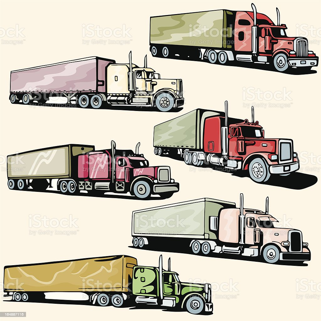 Truck Illustrations XXXVIII: Highway Trucks (Vector) royalty-free stock vector art
