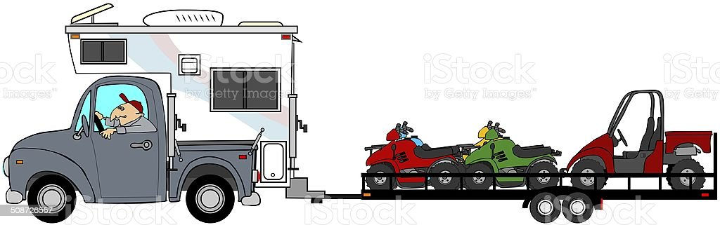 Truck with camper towing ATV's vector art illustration