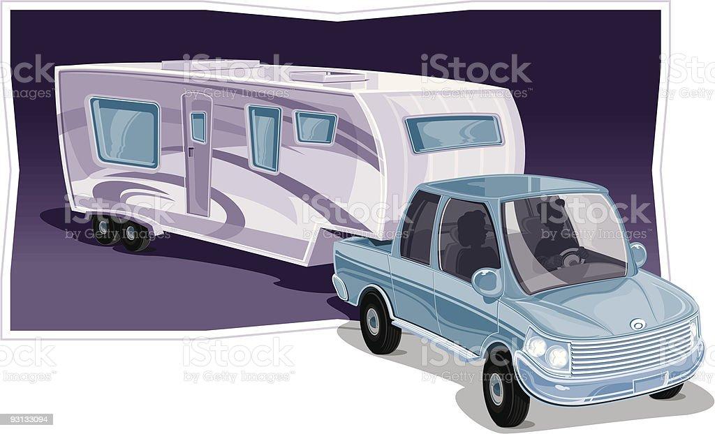 Truck with Fifth Wheel vector art illustration