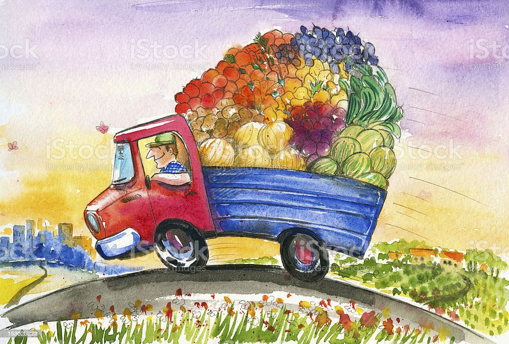 Truck with vegetables royalty-free stock vector art