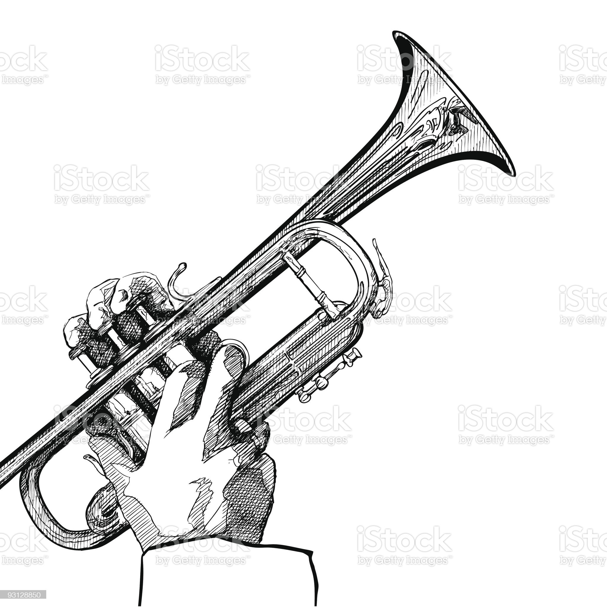 trumpet on white background royalty-free stock vector art