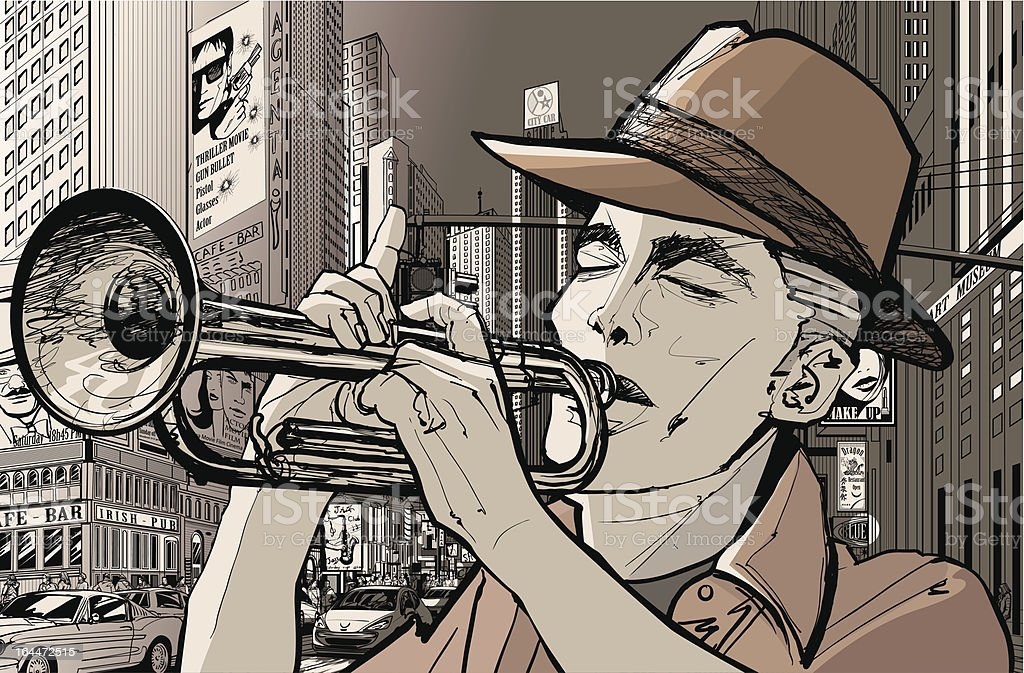 trumpeter in new-york vector art illustration