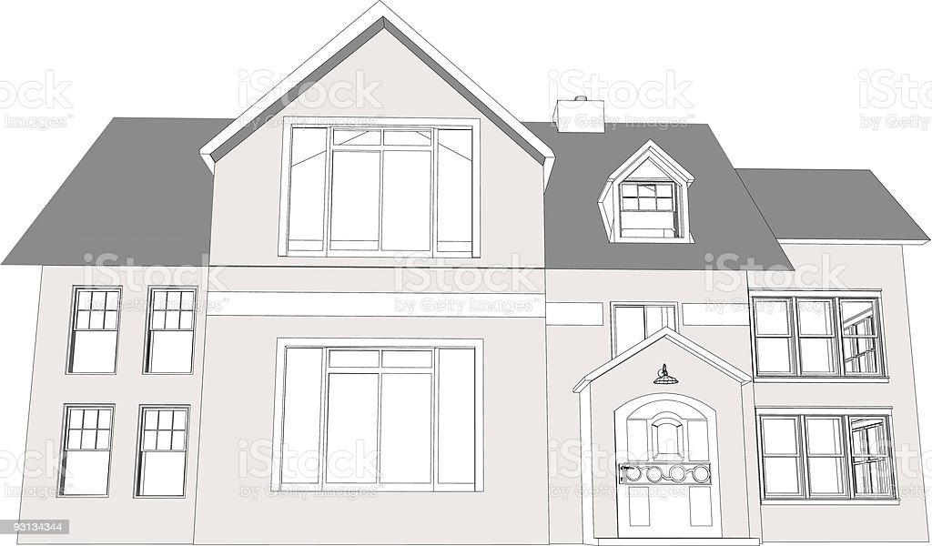 Tudor Home Outline vector art illustration