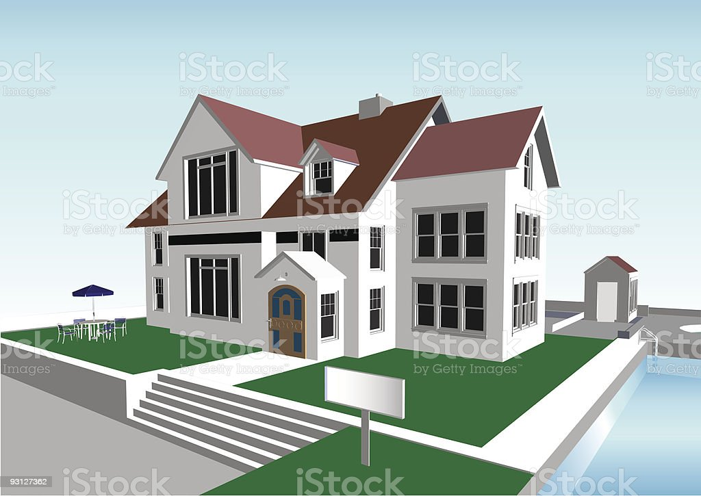 Tudor Home with Swimming Pool vector art illustration