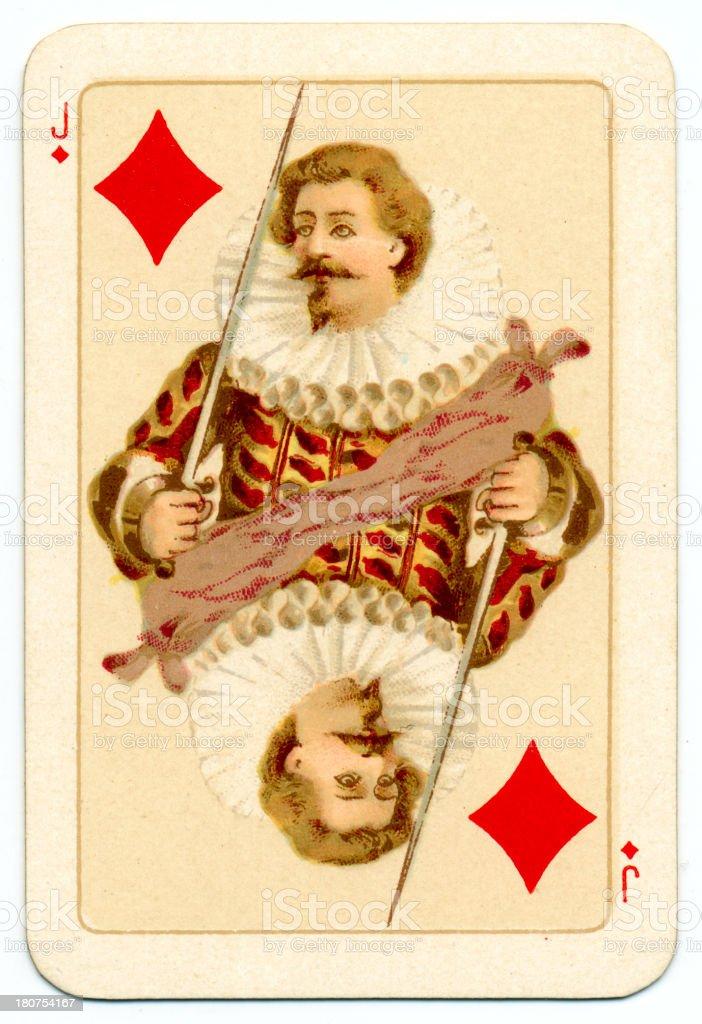 Tudor Jack of Diamonds playing card Goodall 1895 vector art illustration