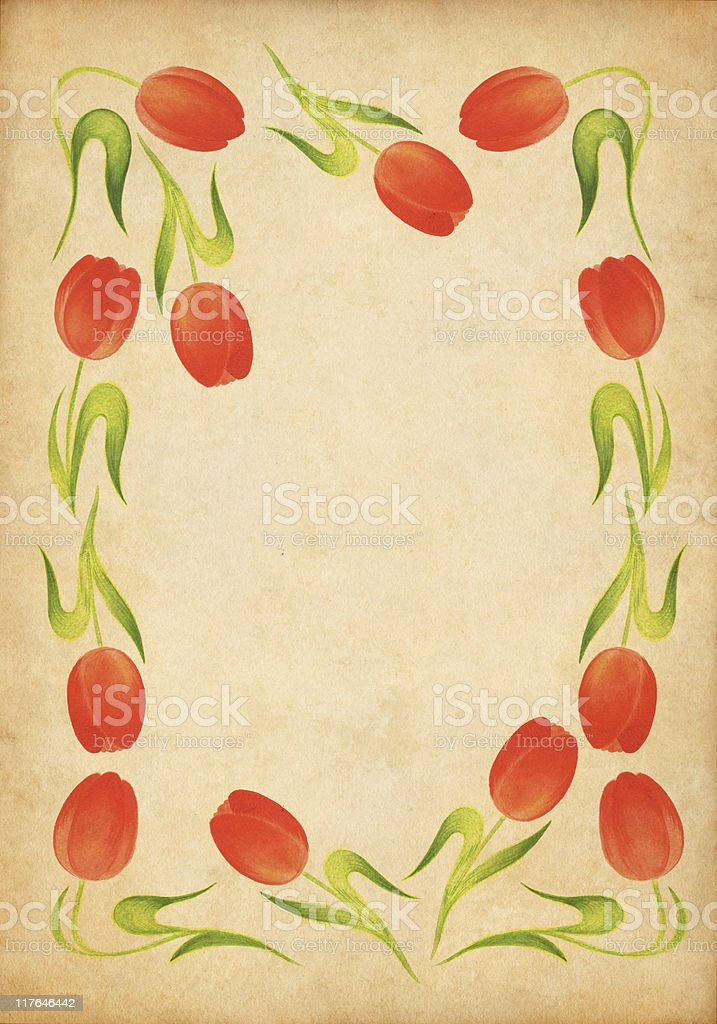 tulip frame on old paper royalty-free stock vector art