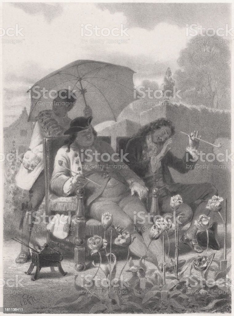 Tulip mania, first bubble of economic history, 1637, published 1873 royalty-free stock vector art