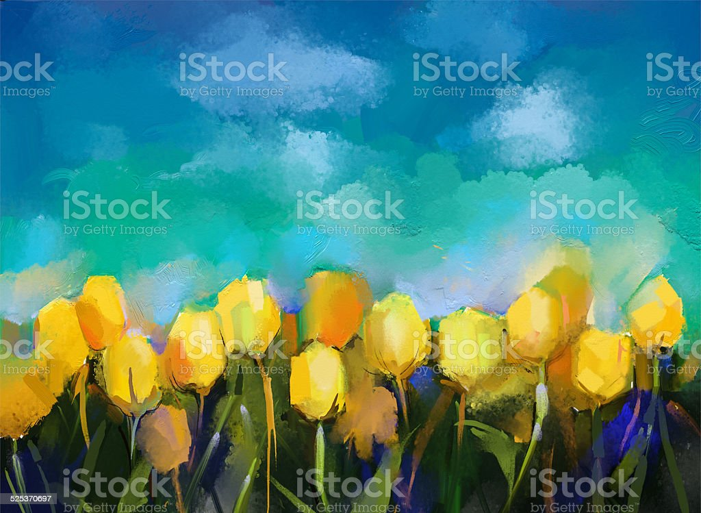 Tulips flowers.Abstract flower oil painting vector art illustration