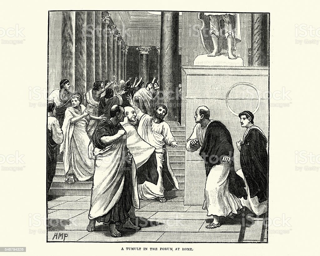 Tumult in the Forum of Ancient Rome vector art illustration