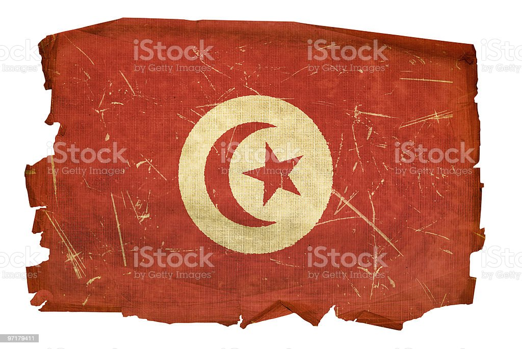 Tunisia Flag old, isolated on white background. royalty-free stock vector art